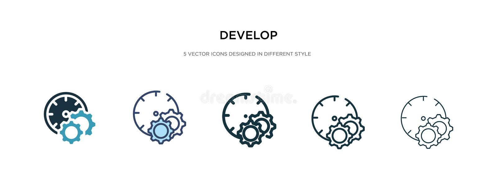 Develop icon in different style vector illustration. two colored and black develop vector icons designed in filled, outline, line vector illustration