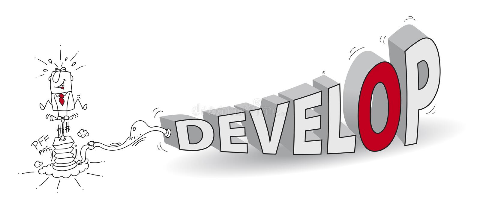 Develop. Joe, the businessman, inflates the word Develop like a crazy man with a pump. It is a metaphor of the development of the business stock illustration