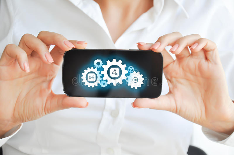 Develop mobile devices apps technology concept stock photography