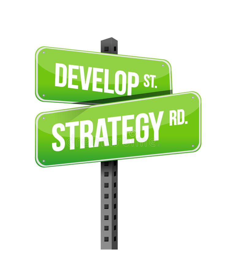 Develop strategy road sign illustration. Design over white royalty free illustration