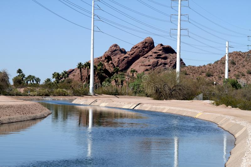 Download USA, Arizona: Irrigation Canal And Power Lines Royalty Free Stock Image - Image: 23548896