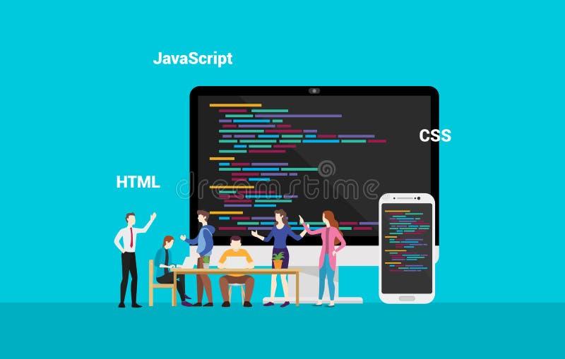 Developepr d'entrée de programmation de site Web fonctionnant ensemble - le vecteur illustration stock