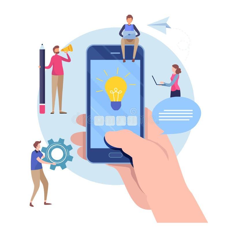 Developer create application. Mobile app development. Flat cartoon miniature illustration vector graphic. On white background royalty free illustration