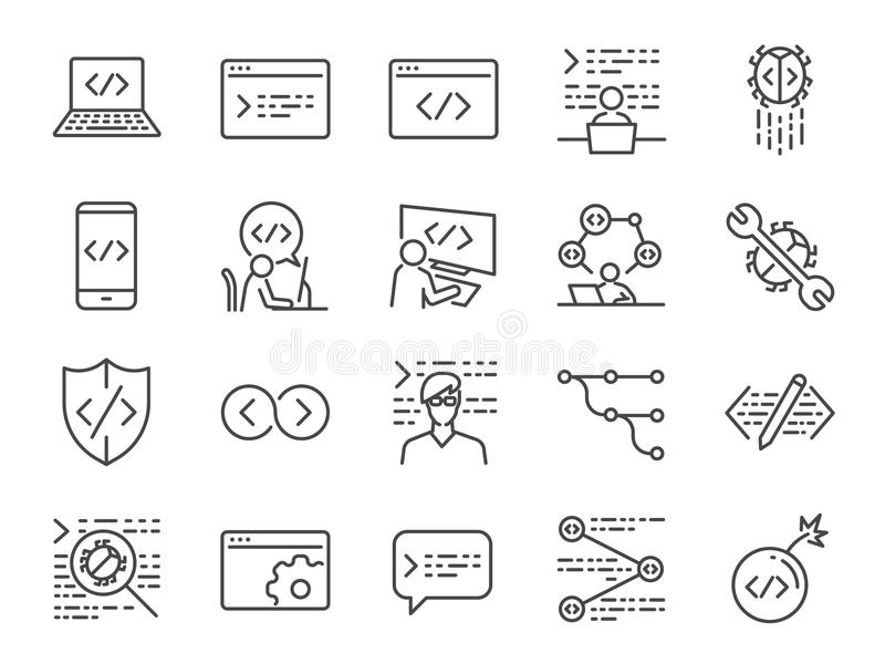 Developer icon set. Included the icons as code, programmer coding, mobile app, api, node connect, flow, logic, web coder, bug fix royalty free illustration