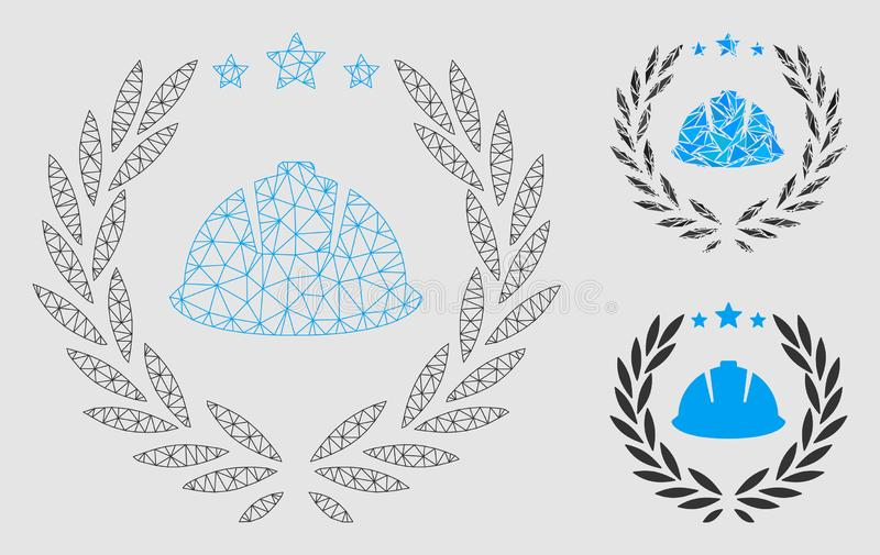 Developer Laureal Wreath Vector Mesh 2D Model and Triangle Mosaic Icon vector illustration