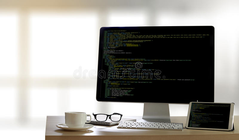 Developer Team Working Laptop Computer Mobile Application Softwareand Web Design Online Technology Content script to display royalty free stock photos