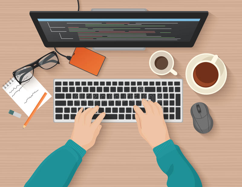Developer working at computer. Programmer hands coding. Programming flat illustration concept. Vector top view. royalty free illustration