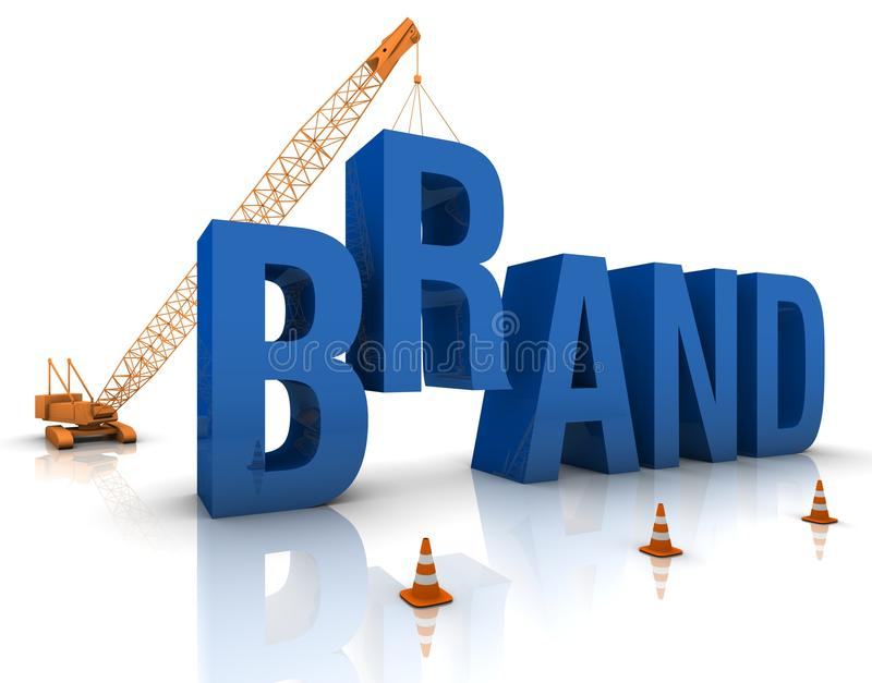 Developing a Brand. Construction site crane building a blue 3D text. Part of a series royalty free illustration