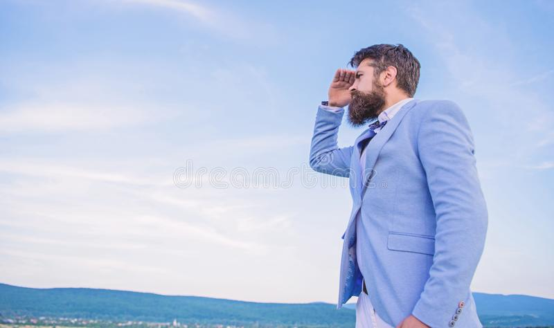 Developing business direction. Businessman bearded face sky background. Changing course. New business direction. Looking royalty free stock image