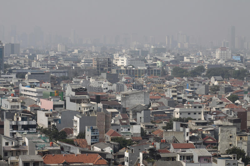 Developing City. Landscape of buildings in a city of developing country stock images