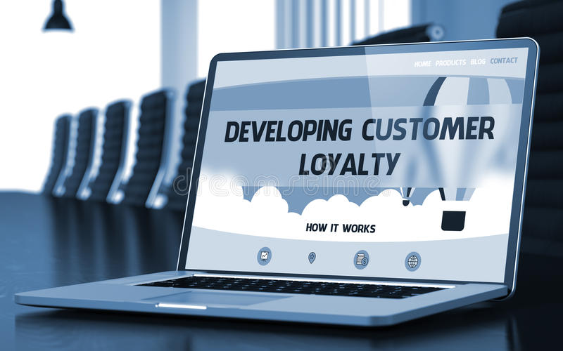 Developing Customer Loyalty on Laptop in Conference Hall. 3D. royalty free stock photo
