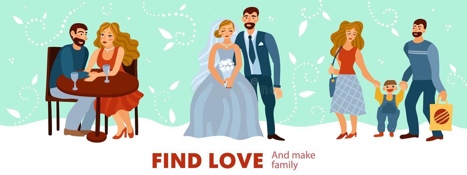 Developing Love Relations Illustration. Developing love relations from romantic dating to making of family with child on pastel background vector illustration stock illustration