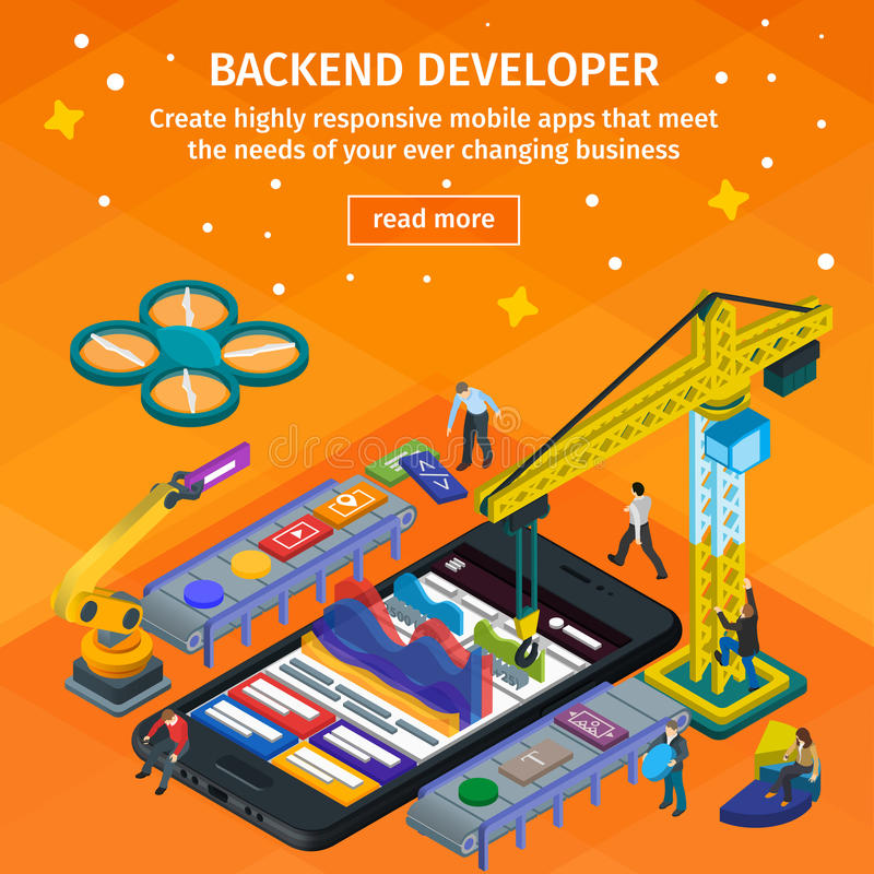 Developing mobile apDeveloping mobile applications flat 3d isometric style. Backend developer app. People working on startup. stock illustration