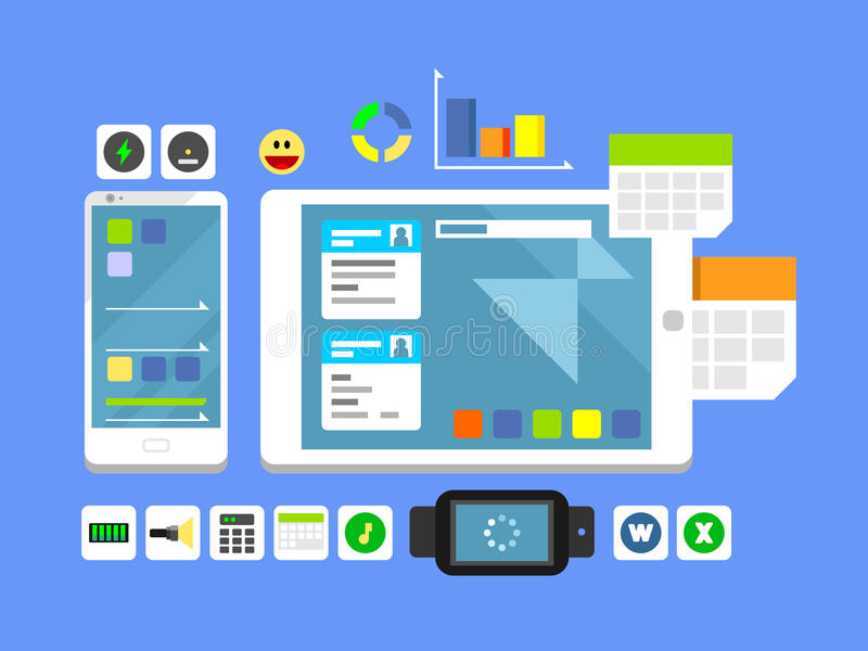 Developing a mobile app and layout. Web technology, interface phone, ui button and menu, flat vector illustration stock illustration