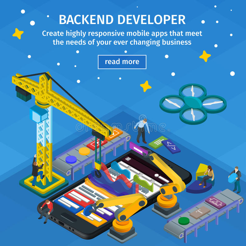 Developing mobile applications flat 3d isometric style. Backend developer app. People working on startup. Blue web design. stock illustration