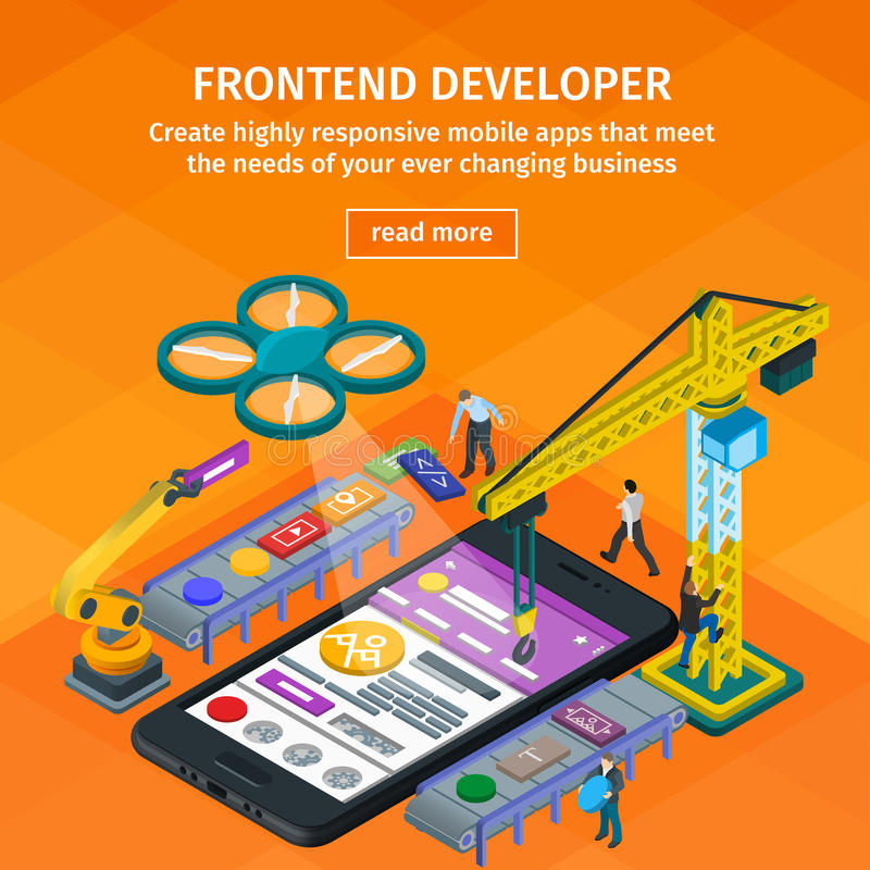 Developing mobile applications flat 3d isometric style. 3d crane and robotic arm. People working on startup. Orange web design. vector illustration