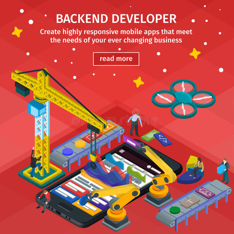 Developing mobile applications flat 3d isometric style. People w stock illustration