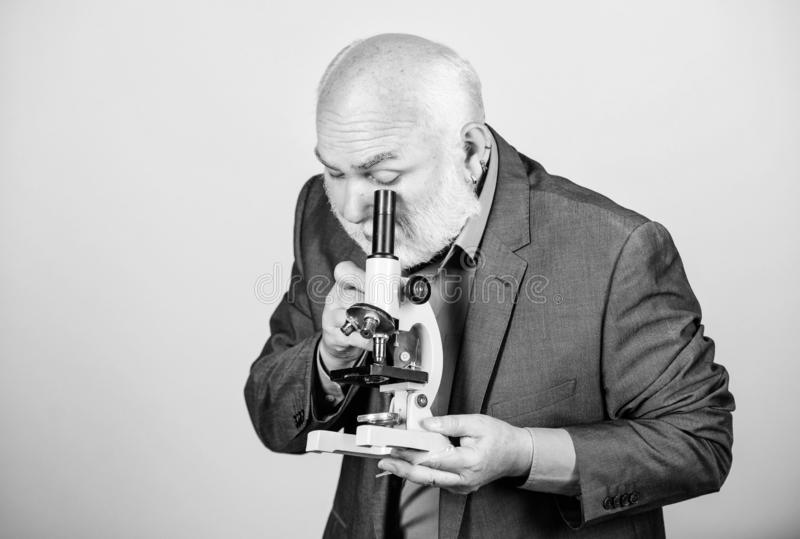 Developing new approaches. senior man biologist. university professor. knowledge and wisdom. biology education. science. Lab. chemistry in school laboratory stock photos