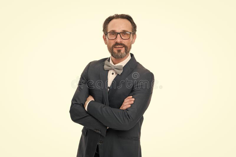 Developing new project. Bearded man. Mature hipster with beard. Businessman in suit. Developing new approache. Confident royalty free stock photos