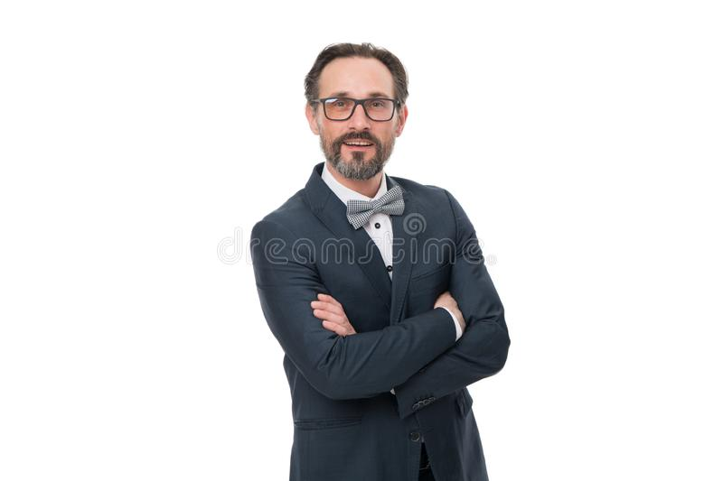 Developing new project. Bearded man. Mature hipster with beard. Businessman in suit. Developing new approache. Confident stock photo