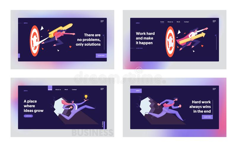 Developing of New Strategies, Career Boost Website Landing Page Set. Businesspeople with Jetpack Punch. Through Hole in Wall, Huge Target. Goal Achieve Web Page royalty free illustration
