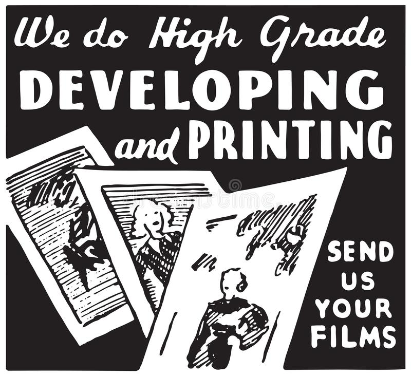 Developing And Printing. Retro Ad Art Banner royalty free illustration