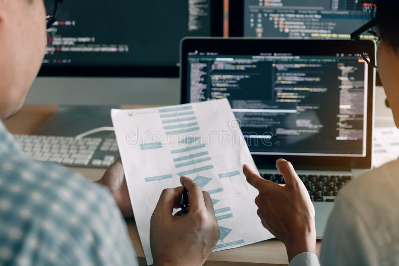 Developing programming and coding technologies working in a software engineers developing applications together in office stock image