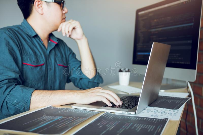Developing programming and coding technology working in a software develop company office royalty free stock photos