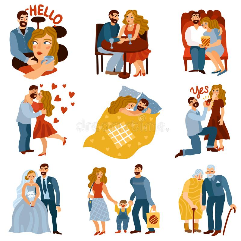 Developing Relations Set. With love symbols flat isolated vector illustration vector illustration