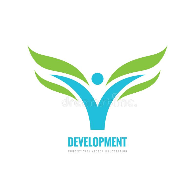 Development - business logo design. Abstract stylized human with green leaves icon. Health concept sign. stock illustration