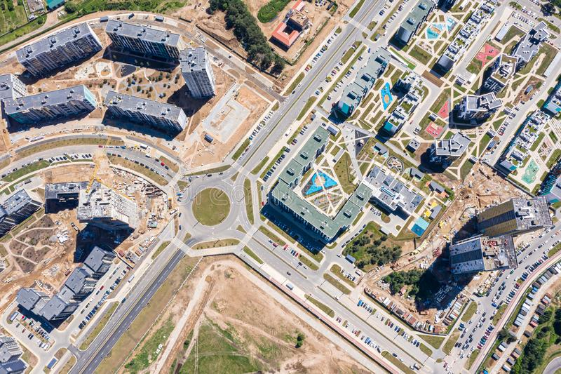 Development of city infrastructure. construction of new residential buildings. aerial view stock images