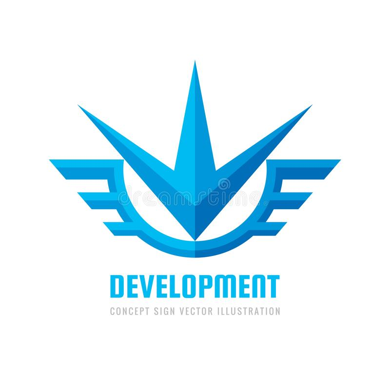 Development - concept business logo template vector illustration. Flash star with wings. Abstrat transport creative sign. stock illustration