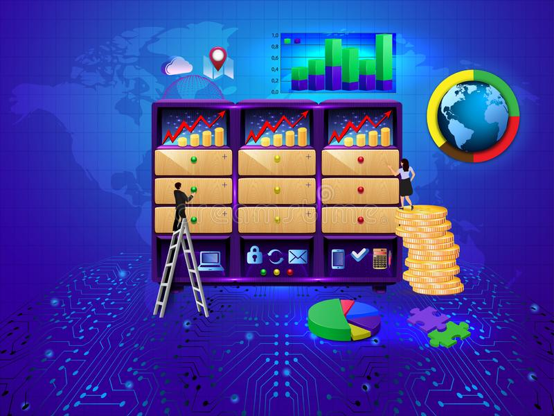 Development Economics Strategy. Analysis of sales, statistic grow data, accounting infographic. Commerce solutions for investments. Analysis concept. Economic royalty free illustration