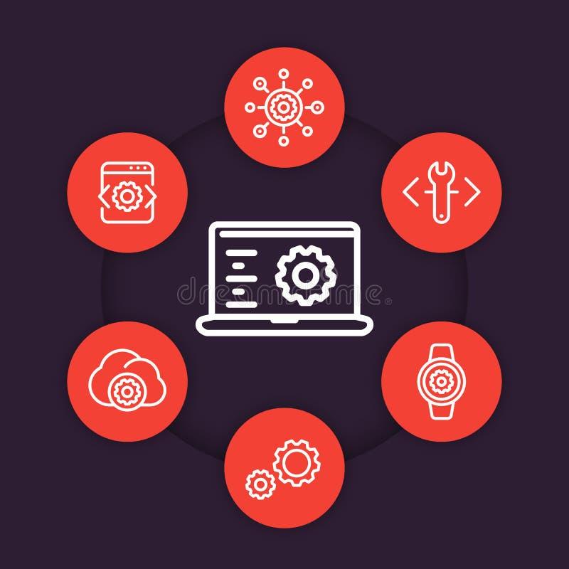 Development, engineering, configuration line icons. Set, settings, installation symbols stock illustration