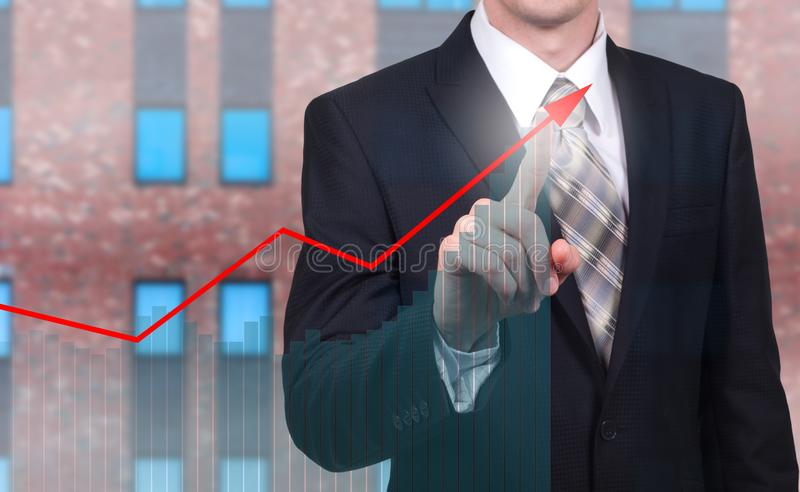 Development and growth concept. Businessman plan growth and increase of positive indicators in his business and finance.  royalty free stock photos