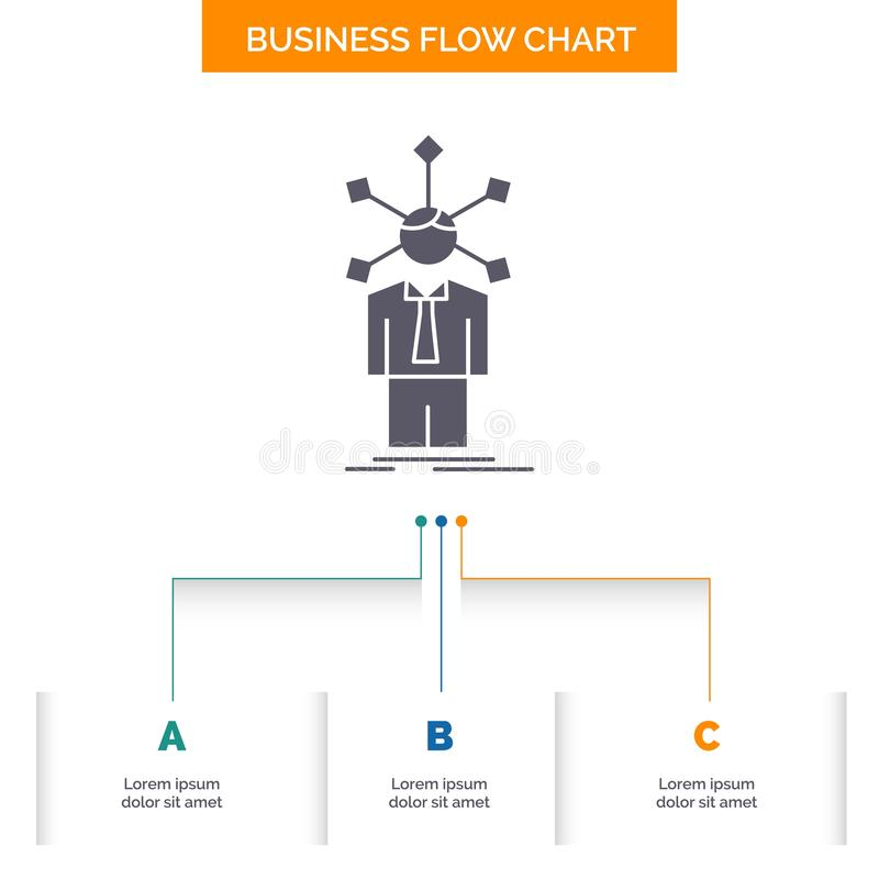 development, human, network, personality, self Business Flow Chart Design with 3 Steps. Glyph Icon For Presentation Background royalty free illustration