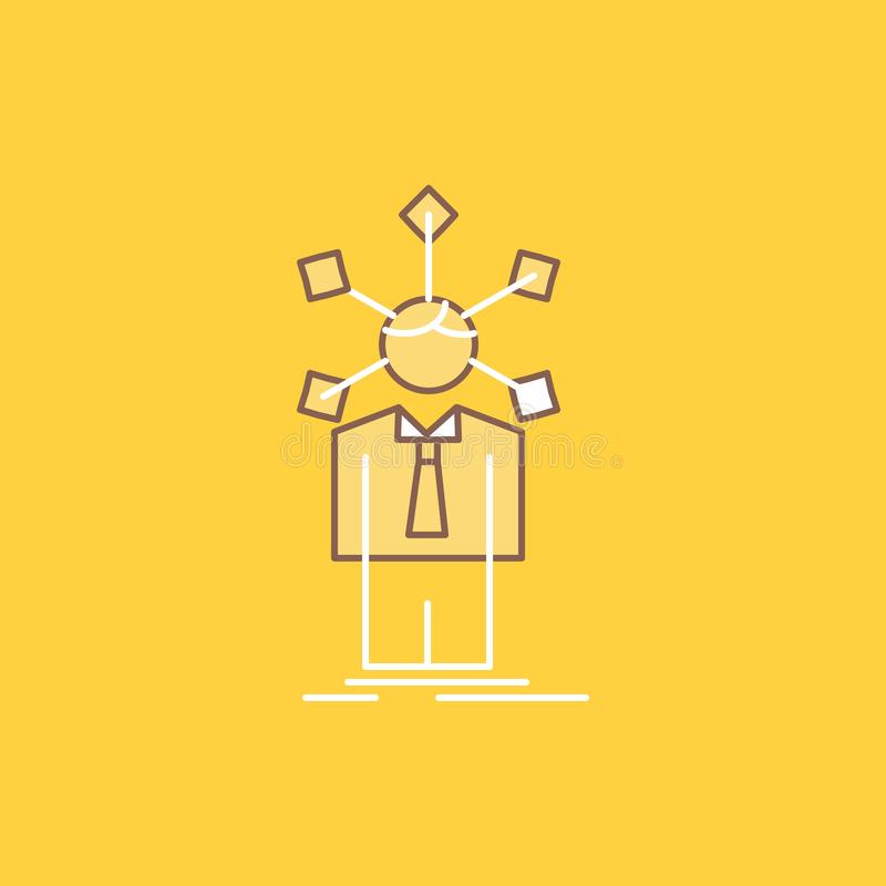 Development, human, network, personality, self Flat Line Filled Icon. Beautiful Logo button over yellow background for UI and UX,. Website or mobile application stock illustration