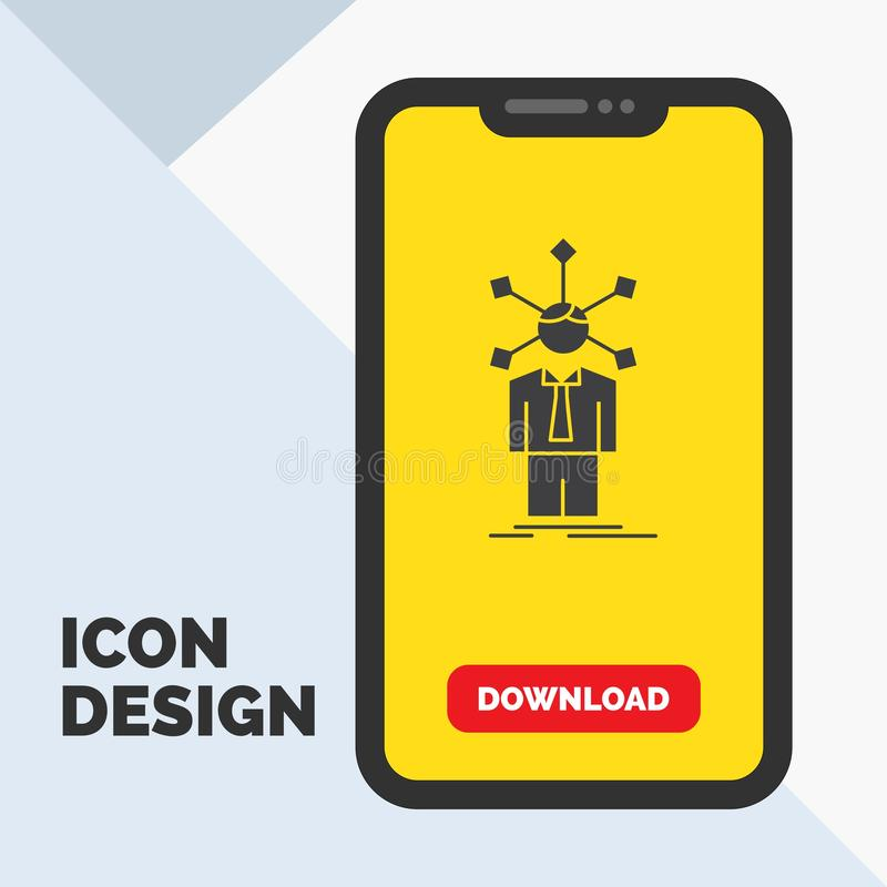 Development, human, network, personality, self Glyph Icon in Mobile for Download Page. Yellow Background. Vector EPS10 Abstract Template background royalty free illustration