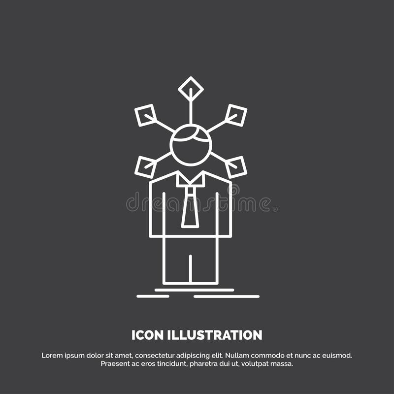 Development, human, network, personality, self Icon. Line vector symbol for UI and UX, website or mobile application. Vector EPS10 Abstract Template background stock illustration