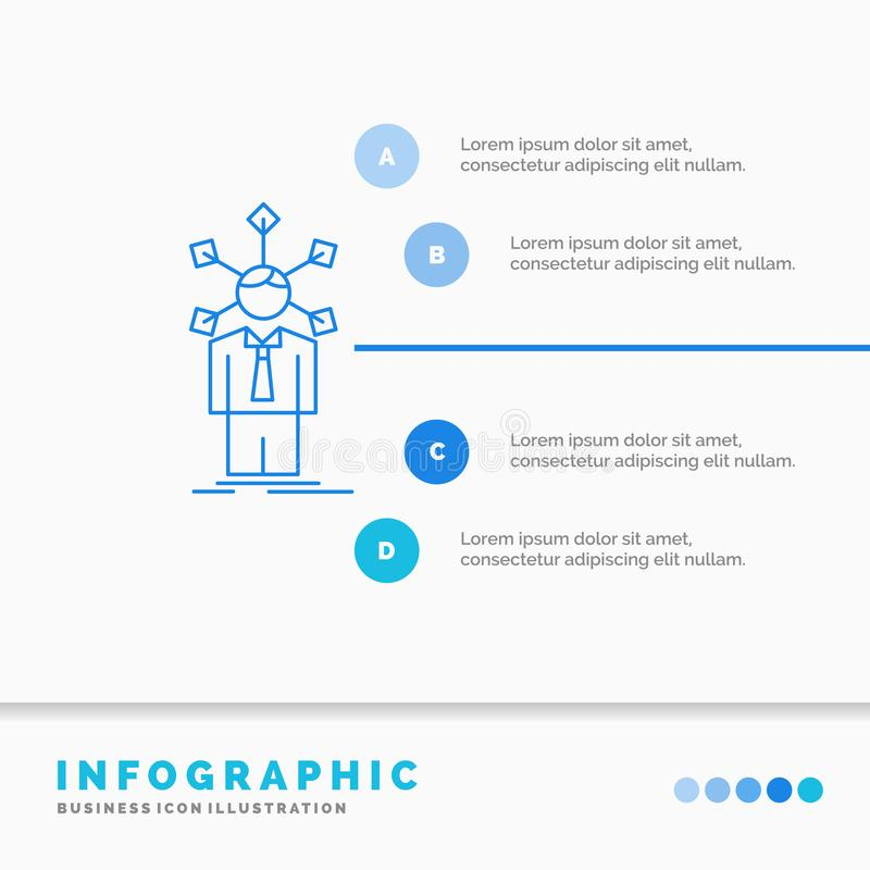 Development, human, network, personality, self Infographics Template for Website and Presentation. Line Blue icon infographic. Style vector illustration. Vector vector illustration