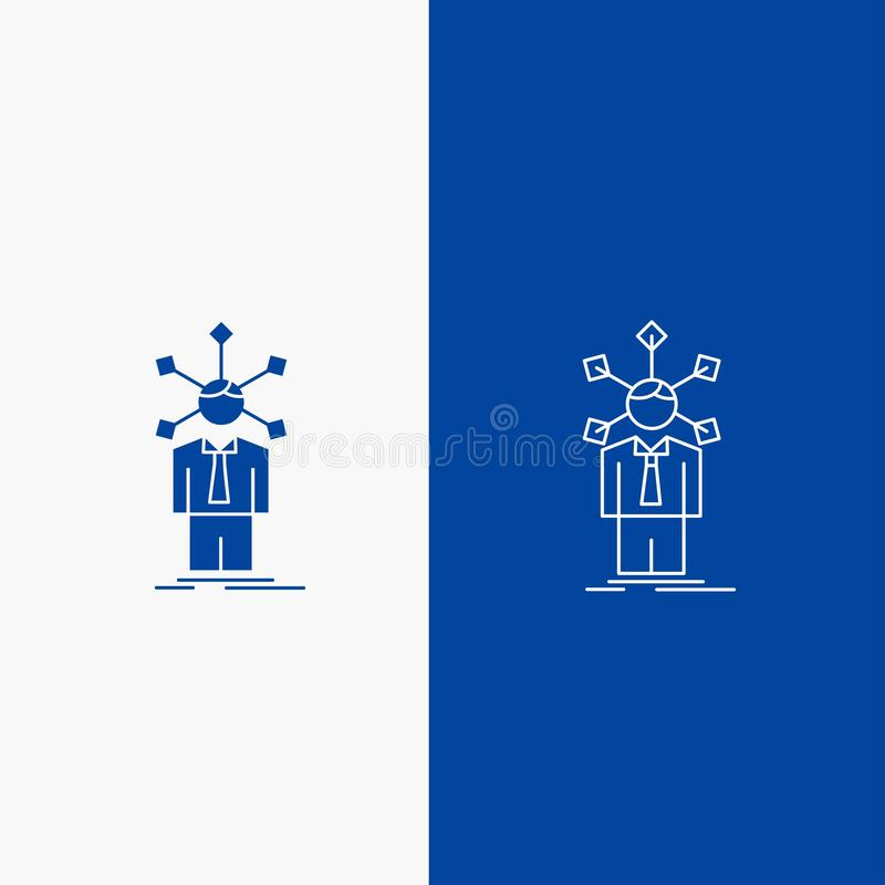 Development, human, network, personality, self Line and Glyph web Button in Blue color Vertical Banner for UI and UX, website or. Mobile application. Vector stock illustration