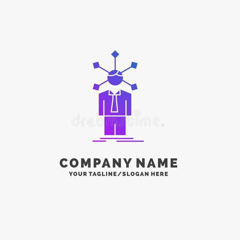 Development, human, network, personality, self Purple Business Logo Template. Place for Tagline. Vector EPS10 Abstract Template background royalty free illustration