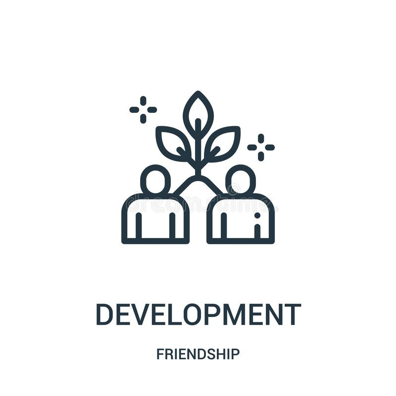 development icon vector from friendship collection. Thin line development outline icon vector illustration. Linear symbol for use royalty free illustration