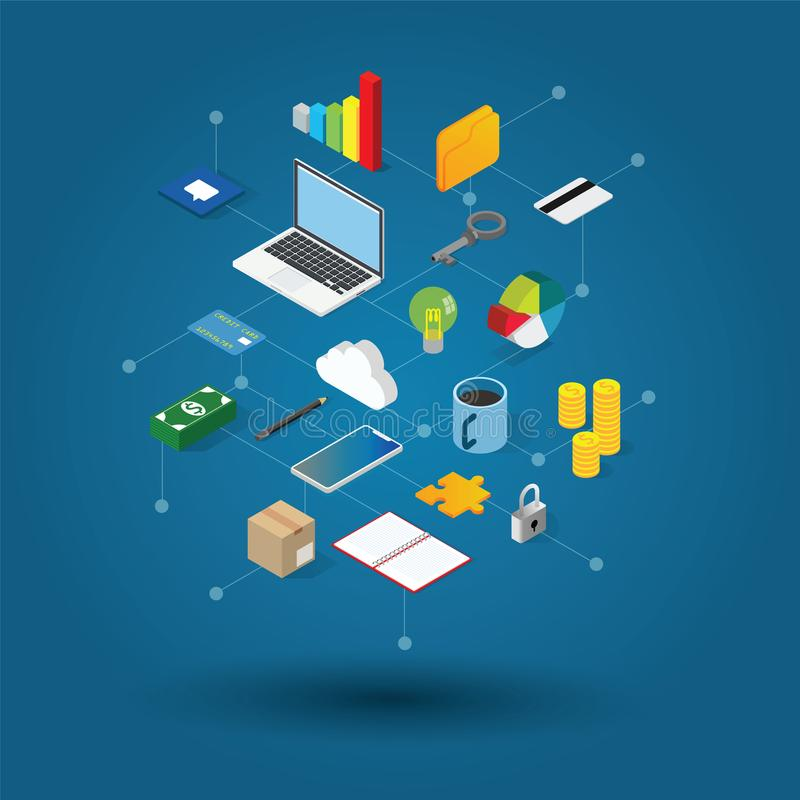 Isometry office and workplace vector illustration