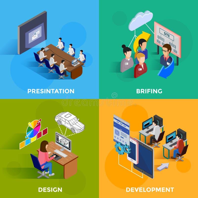 Development 2x2 Isometric Design Concept royalty free illustration