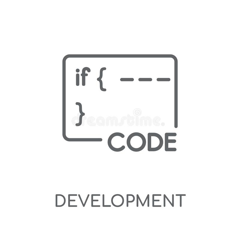 Development linear icon. Modern outline Development logo concept royalty free illustration