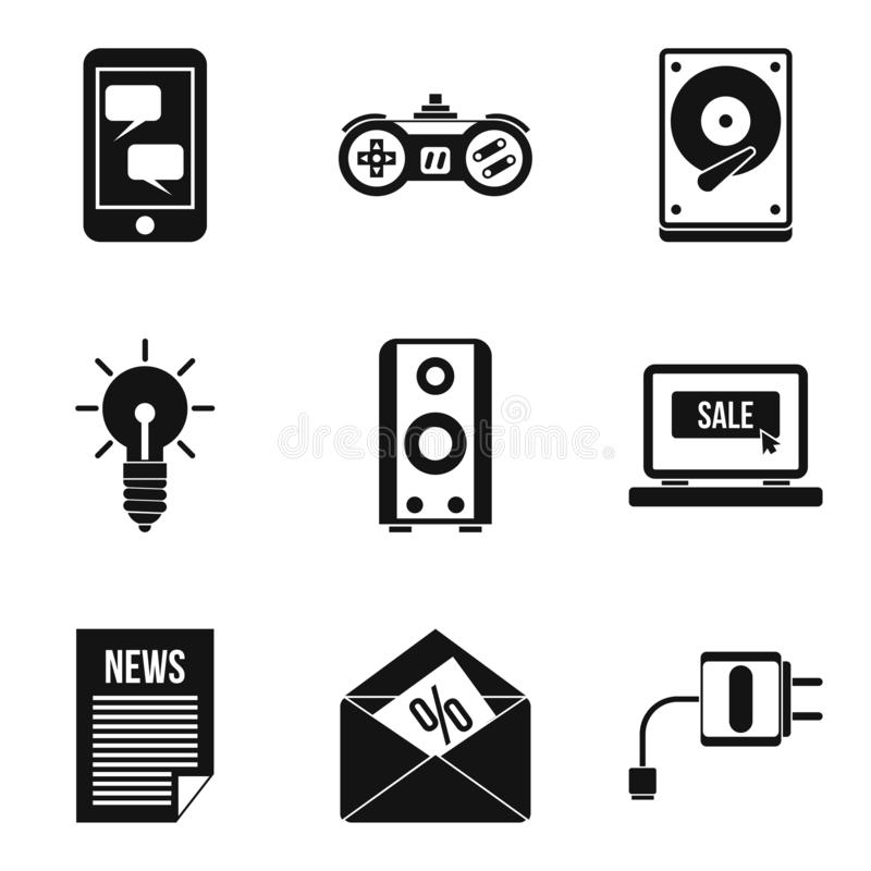 Development of mobile app icons set, simple style. Development of mobile app icons set. Simple set of 9 development of mobile app icons for web isolated on white royalty free illustration
