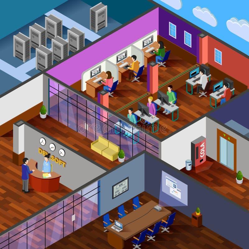 Development Office Isometric Design Concept royalty free illustration