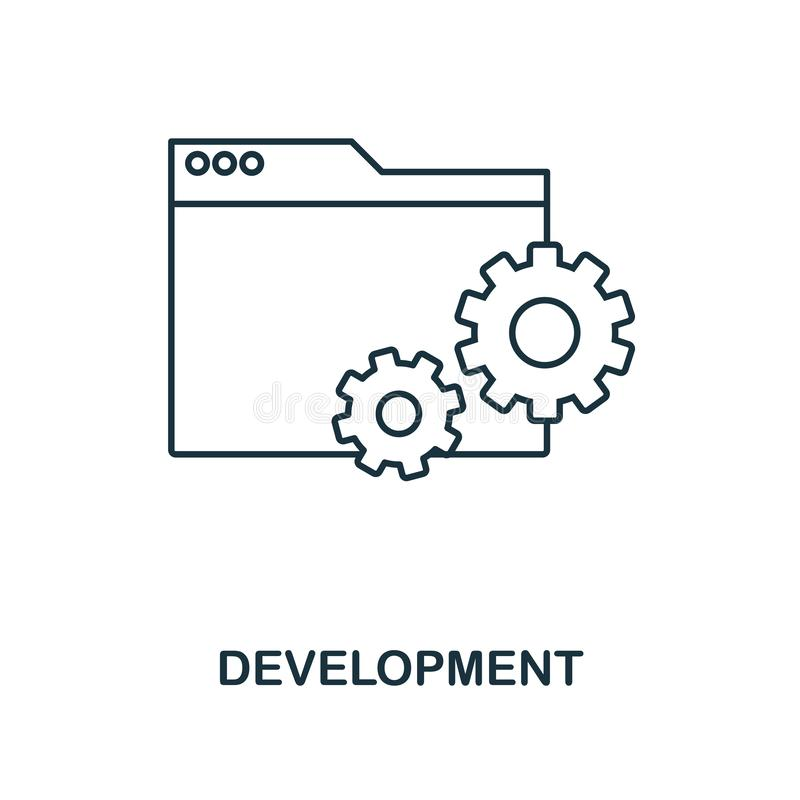 Development outline icon. Simple design from web development icon collection. UI and UX. Pixel perfect development icon. For web d stock illustration