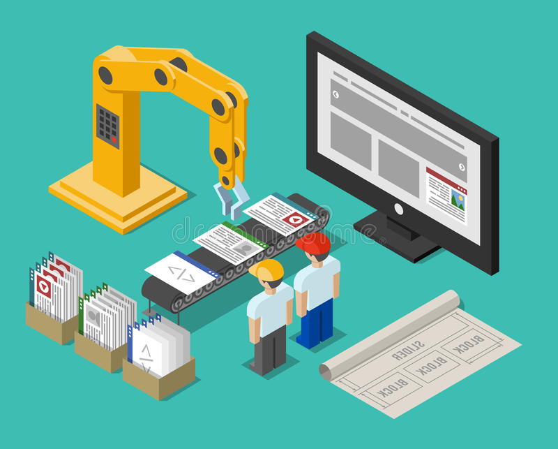 Development process web site interface. Construction and crane, workflow function, build and optimization and workplace, vector illustration vector illustration
